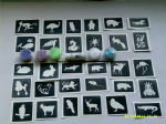 Animal themed glitter tattoo set including 40 stencils + 5 glitter colours + glue   children  boys  girls  Fund raise